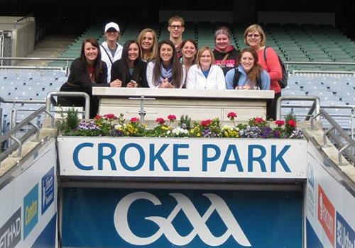 Students at Croke Park, home of the Gaelic Athletic Association (GAA)